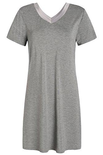 Latuza Women's V-Neck Sleep Dress Jersey Nightgown M Light Gray
