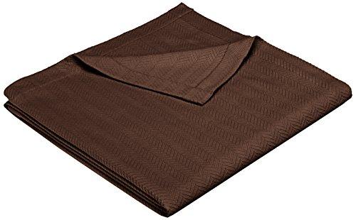 Pinzon Egyptian Cotton Herringbone Blanket - Full/Queen, Chocolate