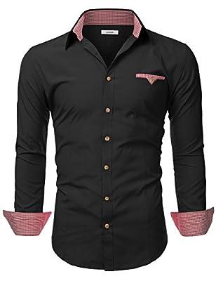 IDARBI Mens Long Sleeve Tailored Checkered Cuff Slim Fit Shirt