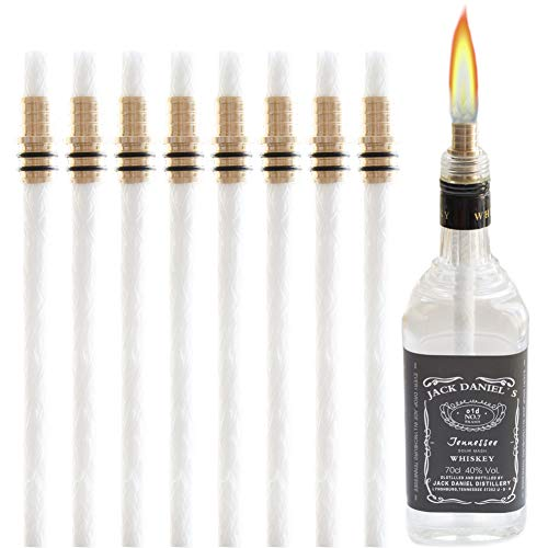 Tiki Torch Wick - Wine Bottle Torch Kit 8 Pack, Includes 8 Long Life Torch Wicks, Brass Wick Mount(13.7 Inch,Bottle not Included)