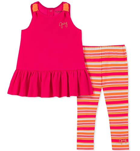 Hot Girl With Leggings (Juicy Couture Baby Girls 2 Pieces Legging Set, hot Orange/Pink Stripes,)