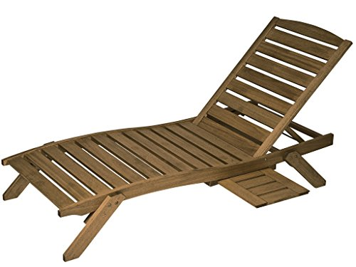 Timbo Mestra Hardwood Outdoor Patio Chaise Lounge with Tray, Chaise, Brown Hardwood Chaise Lounge