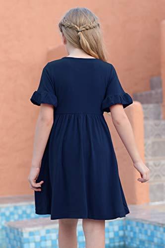 GORLYA Girl's Simply Ruffle Sleeve Elegant Smock Style Casual Midi Dress with Pockets for Kids 4-12 Years