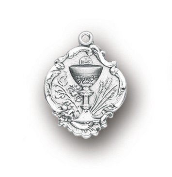 First Communion Medal Pendant - BERTOF BT-FC-03 Chalice Pendant 3/4 Inch With 18