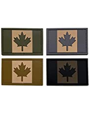 Coolton Canada Flag Patches Canada Maple Leaf Hook Loop Sticker Patch Tactical Tags Morale National Emblem Patch for Travel Molle Backpacks Vest Hats Team uniform Jackets 4 pieces 2x3 Inch