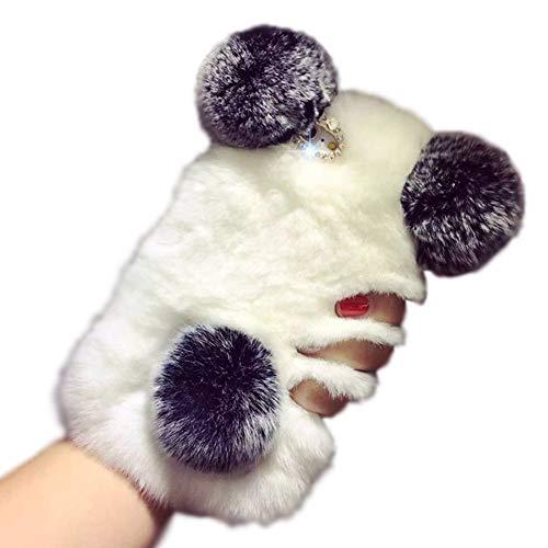 Aikeduo for iPhone 7Plus 5.5 Inch case Bling Luxury Cute Warm Handmade Panda Bear Furry Soft Rabbit Fur Hair iPhone 7 Plus 5.5 INCH 3D Case Cover (Panda)