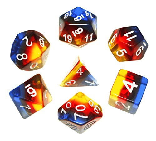 (DND Dice Set RPG Polyhedral Aurora Dice Fit Dungeons and Dragons(D&D) Pathfinder RPG MTG Role Playing Dice Tabletop Board Games 7-Die Dice Set Transparent Dice (Ice &)