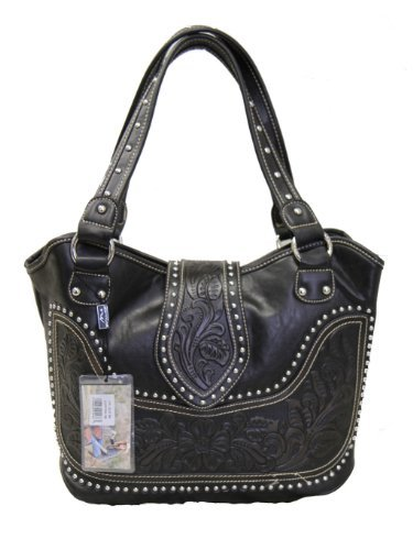 - Montana West Ladies Concealed Gun Handbag Tooled Genuine Leather Black