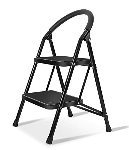 Lightweight 2 Step Ladder Steel Folding Anti-Slip Pedal 330lbs Capacity Ladder for Kitchen ()
