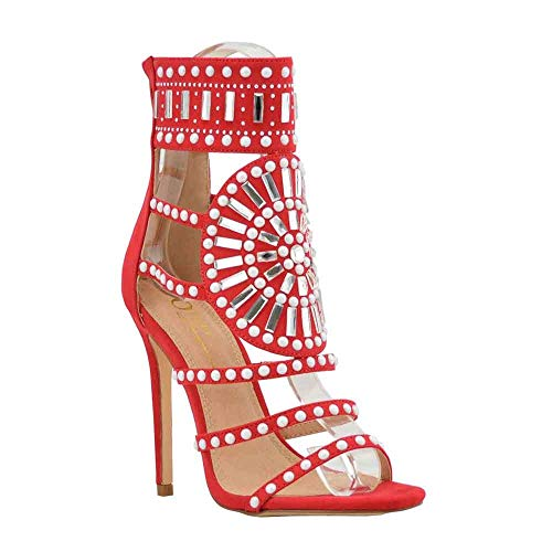 Women's Dress Sandal | Embellished Rhinestone Jeweled Strappy Cuff | Stiletto Heel Sandals (6, Red)