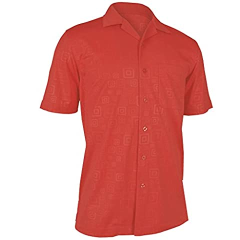 Monterey Club Mens Hallow Geo Emboss Solid Camp Shirt #1227 (Spice, X-Large) - Signature Camp Shirts