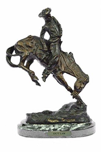 - Handmade European Bronze Sculpture Frederic Remington Cowboy on Horse Rodeo Old West Western Art Bronze Statue -EU63092-Decor Collectible Gift