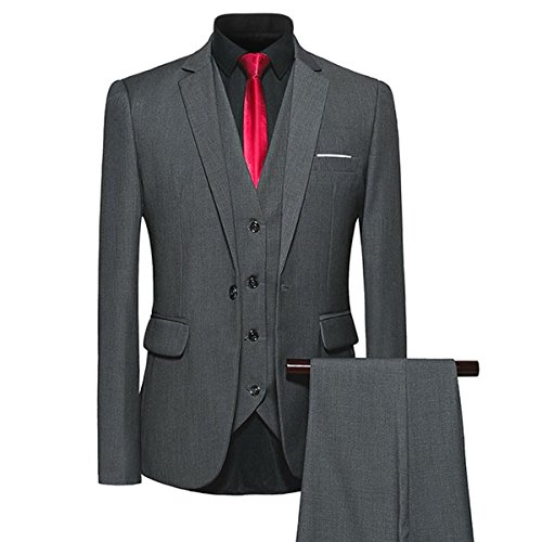 YFFUSHI Mens 3 Piece Suit Slim Fit One Button Solid Color Formal Dress Dark Grey