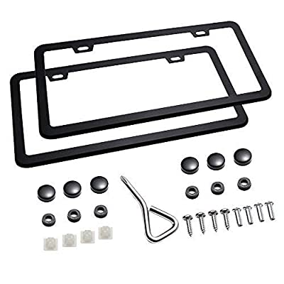 Mushan 1 Pair License Plate Frame Shield Stainless Steel Bumper U.S/Canada Standard Guard Car Plate Frame with Screw Cap Kit: Automotive