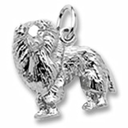 Sheltie Dog Charm In Sterling Silver, Charms for Bracelets and Necklaces