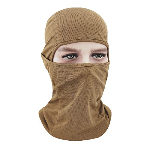 Eamber Balaclava Full Face Mask Hood Hunting Cycling Motorcycle Tactical Comfortable Soft Balaclava Headwear,Black/Tan