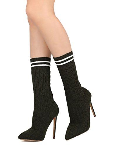 Liliana Vrouwen Halfhoge Kuit Soklaars - Gekleed, Cosplay, Party - Gebreide Stiletto Boot - Gd27 Olive