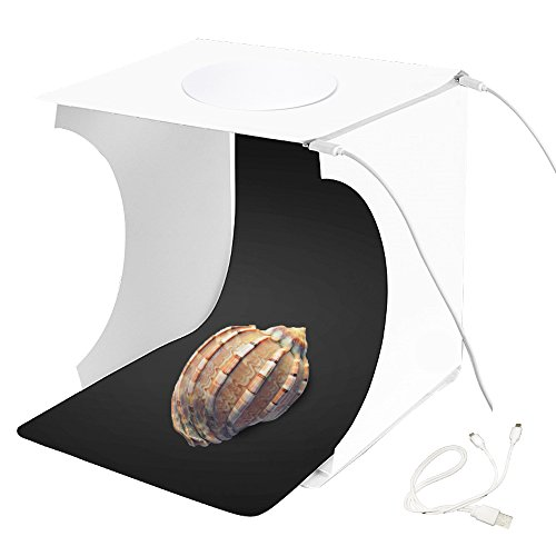 Photo Studio Box Portable Folding Photography Studio Lighting Box Booth Shooting Tent Kit for Jewellery and Small Items with 2x20 LED Lights, White/Black Background, and 2 in1 USB Cable 8.7''x9.1''x9.4'' by Uyue
