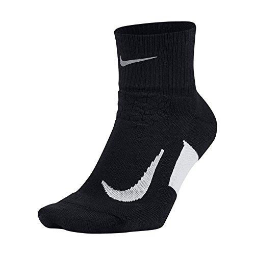 NIKE Unisex Spark Cushion Quarter Running Socks, Black/White/White, Size 8-9.5
