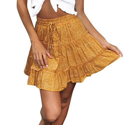(Shorts Skirt for Women,SMALLE◕‿◕ Women Floral High Waist Drawstring Ruffle Flared Boho A-Line Plea Skater Mini Skirt Yellow)