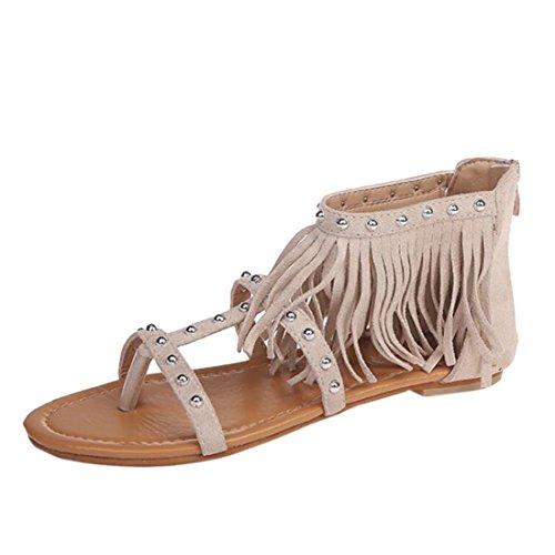 Gland Z Été Casual Femmes Flop Chaussure Flip Daim Plates Rivet Sandales Beige QIYUN 6RBZtwxR