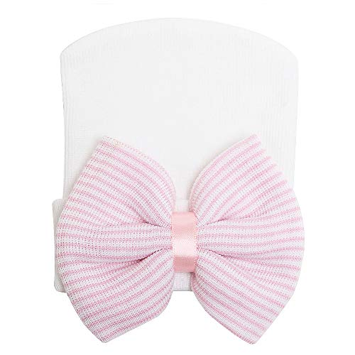 - LOVINO Newborn Hospital Hat Baby Hats Nursery Beanie Cap with Bow Cute Stripe Infant Hat Soft Turban Hats for Baby Girls Pink Bow White Hat