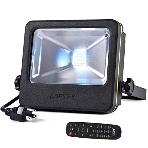 LOFTEK NOVA S 50W LED Flood Light, RGB Outdoor Spotlight with Remote Control, IP66 Protection and UL Listed Plug, 16 Colors Changing and 6 Levels Adjustable Brightness for Outdoor Decoration, Black