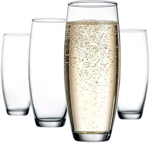 Stemless Champagne Flutes Glass – Set of 12 – Elegant Glassware Set Ideal for Wedding, Party Essentials, Wine Gifts