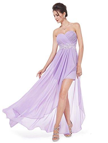 Ever Pretty Womens Strapless Hi-Lo Wedding Guest Dress 6 US Light Purple