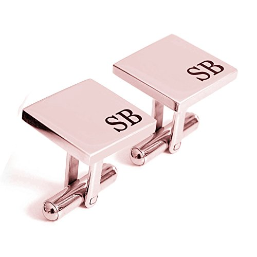 Personalized 925 Sterling Silver Wedding Engraved Cufflinks For Men Custom Made with Any Initials, (Rose Gold)