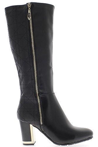 Donne nere stivali con tacco di 7,5 cm cuciture del gambo