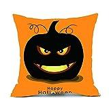Happy Halloween Pillow Cases,Woaills Cotton Linen Cushion Cover Home Decor Hidden Zipper Closure (G)