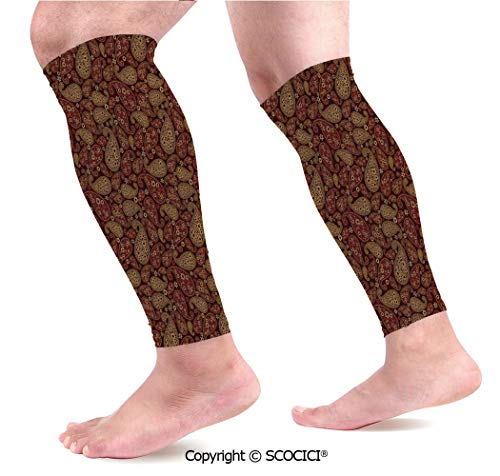 Flexible Breathable Comfortable Leg Skin Protector Sleeve Oriental Damask Ethnic Leaves Middle Age Ottoman Art Inspired Boho Design Decorative Calf Compression Sleeve