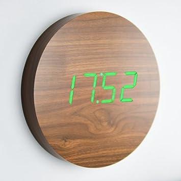 Gingko Click Clock Noyer Horloge Murale LED Vert: Amazon.fr: Cuisine ...