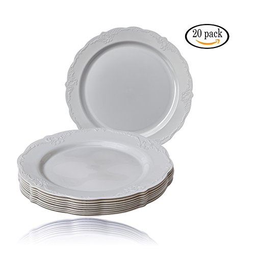 High Quality Antique Finish (Party Disposable 20 pc Dinnerware Set | 20 Dinner Plates | Heavyweight Plastic Dishes | Elegant Fine China Look | for Upscale Wedding and Dining (Vintage Collection –  Grey | 10.25 Inch))