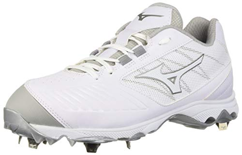 Mizuno Women's 9-Spike Advanced Sweep 4 Low Metal Softball Cleat Shoe, White, 6.5 B (Lightweight Softball Cleats)