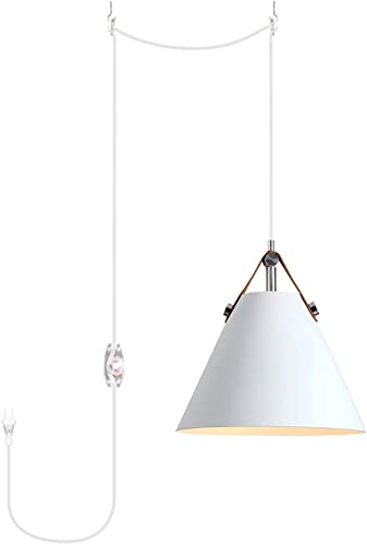 ANYE White Color Lampshade Plug-in Nordic Chandelier Modern Minimalist Pendant Lighting E26 with 20ft UL Dimmable Transparent Cord Bulb Not Included