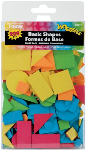 Loew-Cornell 3419 Woodsies Colored Basic Shapes, 200-Pack