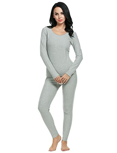 (Ekouaer Women's Thermal Long Johns Underwear Base Layer Set Top&Bottom(Gray,Small))