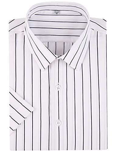 DOKKIA Men's Business Short Sleeve Vertical Striped Dress Shirts (White Black, Large)