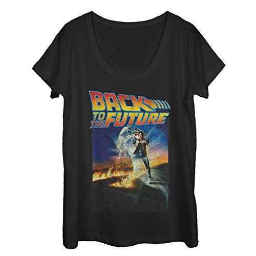 Jennifer Back To The Future Costume (Fifth Sun Back to The Future Women's Retro Marty McFly Poster Black Scoop Neck)