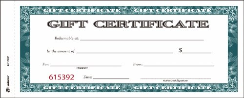 Amazon adams gift certificate book carbonless single paper amazon adams gift certificate book carbonless single paper 34 x 8 inches white 2 part 25 numbered certificates gftc2 blank business gift yadclub Images
