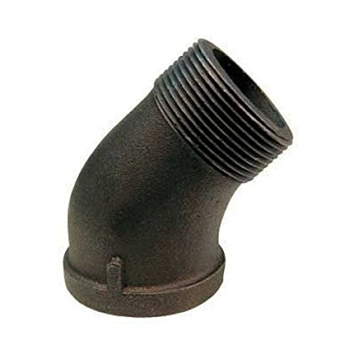 1/4 Black Malleable 45 Degree Street Elbow, Black Fittings- Pack of 5