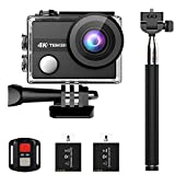 TENKER K1 4K Action Camera, WiFi 12MP Waterproof Sport Camera 170 Degree Wide View Angle 2.4G Remote Control 2 Rechargeable Underwater Cam Batteries and Kit of Accessories