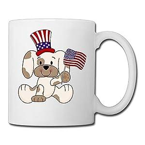 White Beaufiy Novelty USA Doggy With A Flag Coffee Mug