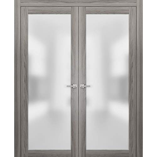 French Frosted Glass Opaque Glass Doors 60 x 84 | Planum 2102 Ginger Ash | Frames Trims Satin Nickel Hardware | Modern Bedroom Pre-Hung Solid Core Pine Wooden Doors