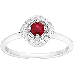 1/3 ct Created Ruby Ring with Diamonds in 14K White Gold