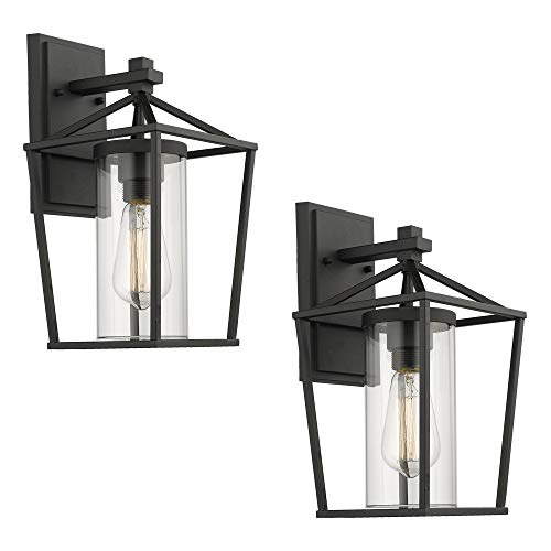 Emliviar Outdoor Porch Lights 2 Pack Wall Mount Light Fixtures, Black Finish with Clear Glass, 20065B1-2PK ()