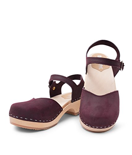 Clog Swedish Sandals Low for Saragasso Women Sandgrens Wooden Plum Heel wHqId7