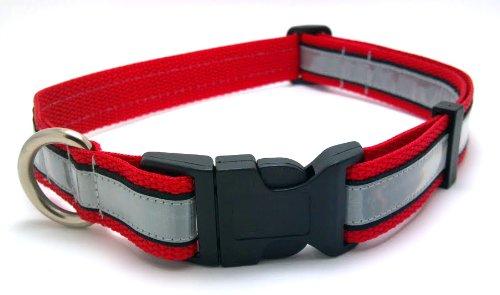 illumidog.com Reflective Solas Dog Safety Collar, Large, Red, My Pet Supplies